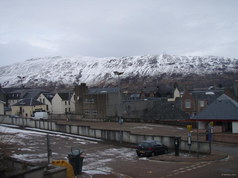 Les hauteurs de Fort William sous la neige.