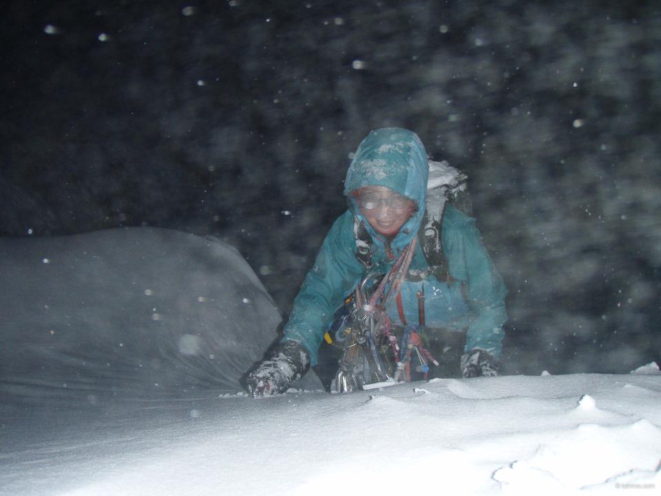La sortie au sommet de Comb Gully Buttress 1, de nuit ...