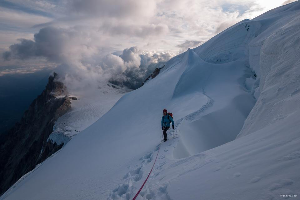 Dans la face nord du Mont Blanc du Tacul.