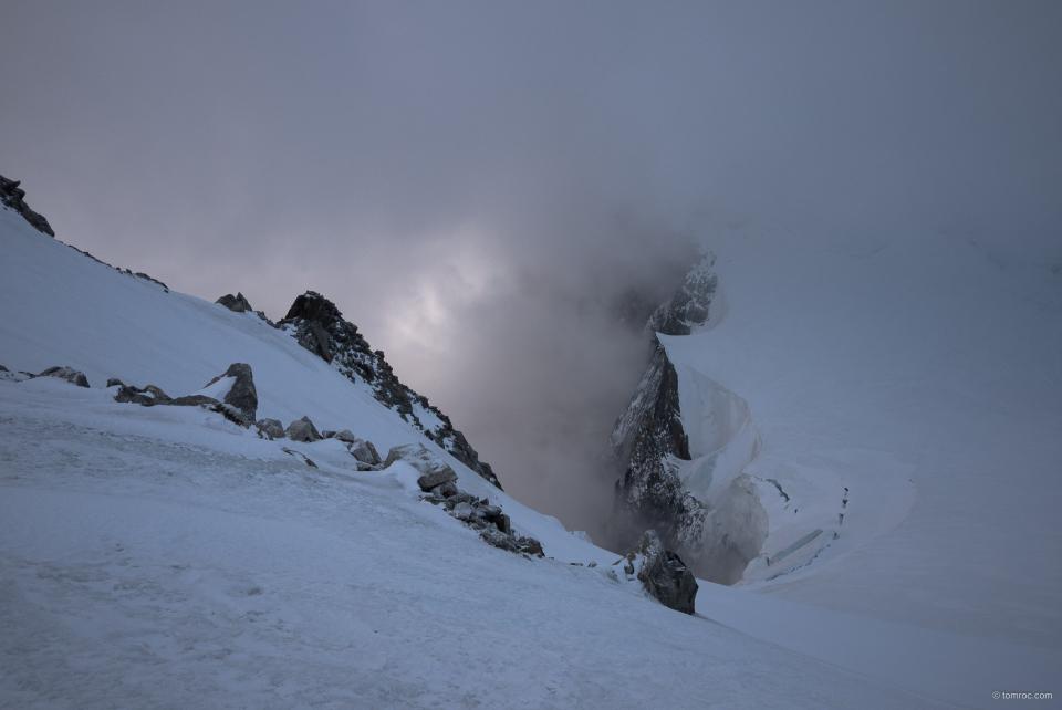 A l'arrivée au sommet du Mont Blanc du Tacul.