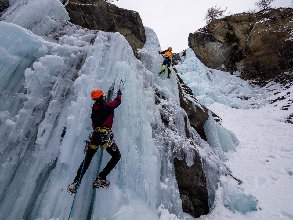 Entrainement à la cascade de Lillaz